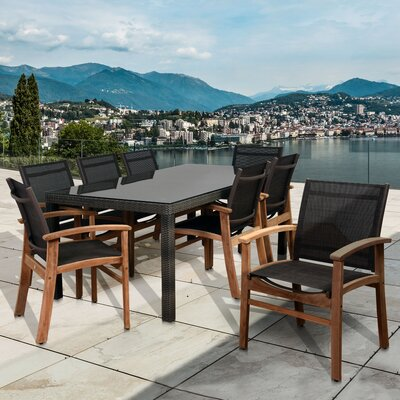 Branco 9 Piece Dining Set Color: Brown