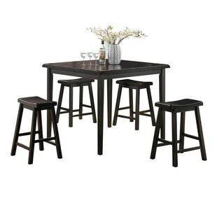 Huffman 5 Piece Counter Height Solid Wood Dining Set by August Grove