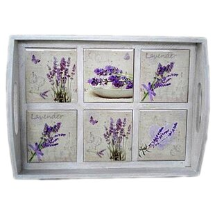 Livingston Wooden Serving Tray with Lavender Ceramic Tiles