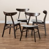 Tamsin Solid Wood Ladder back Side chair in Dark brown (Set of 4) by Foundry Select