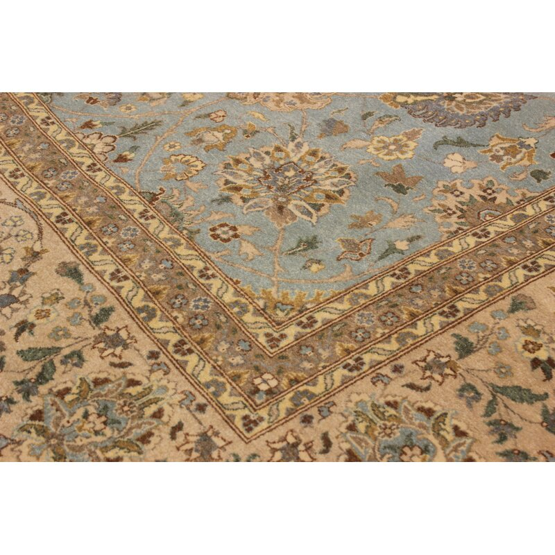 Arshs Fine Rugs Campton Hand Knotted Wool Blue Tan Area Rug