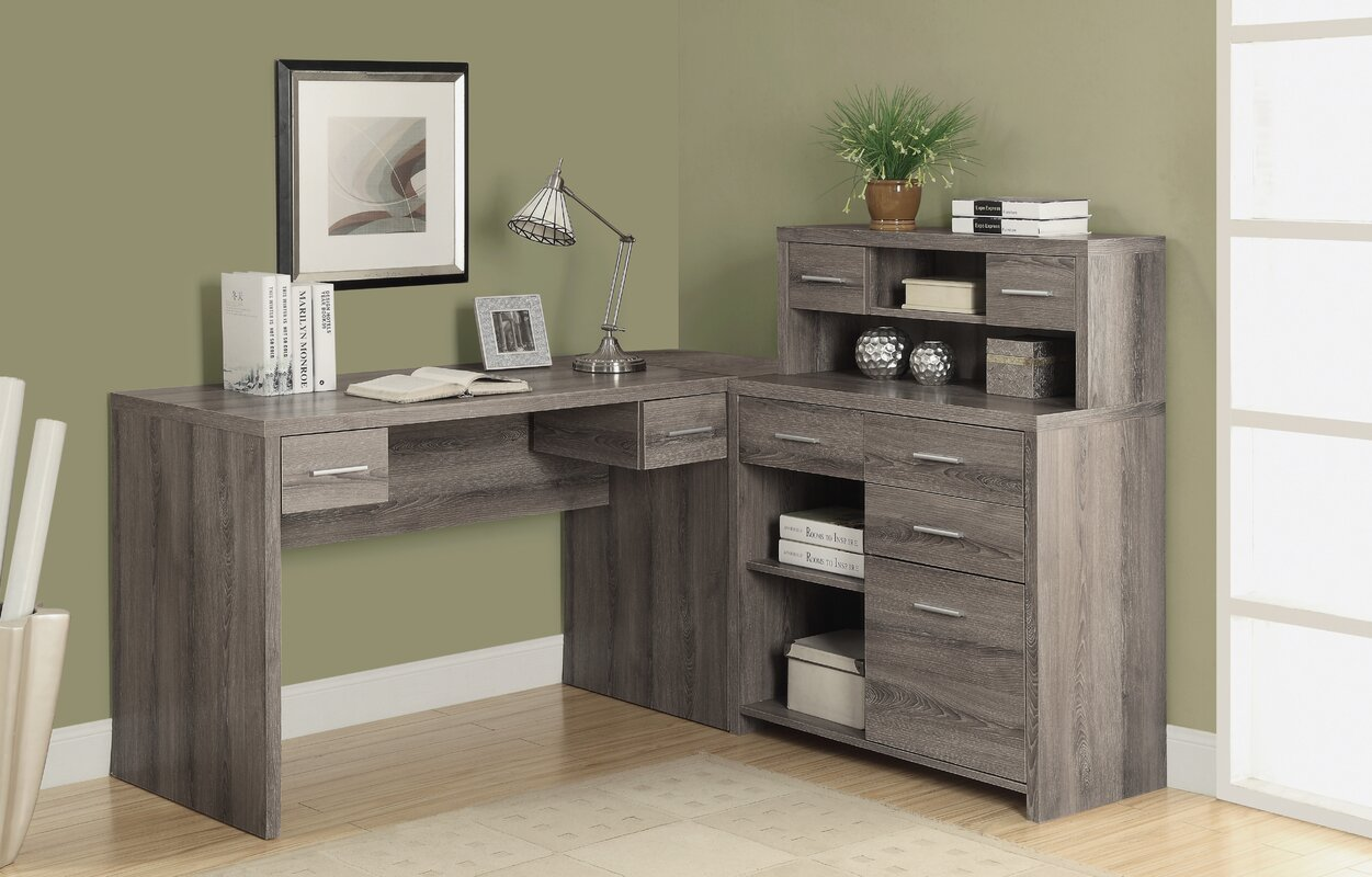 Latitude Run Milford L Shaped Computer Desk With Hutch