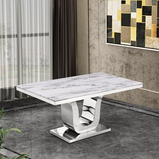 Everly Quinn Maltby Marble Dining Table