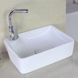 Inexpensive Ceramic Rectangular Vessel Bathroom Sink with Overflow ByAmerican Imaginations