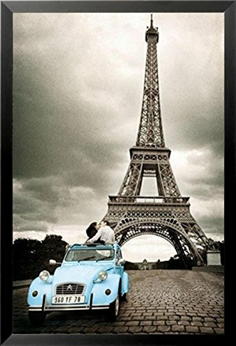 Buy Art For Less \'Paris Romance in Blue Car and Eiffel Tower\' Framed ...