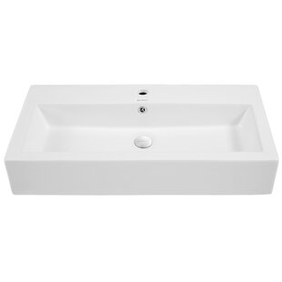 Voltaire Ceramic Rectangular Vessel Bathroom Sink with Overflow by Swiss Madison
