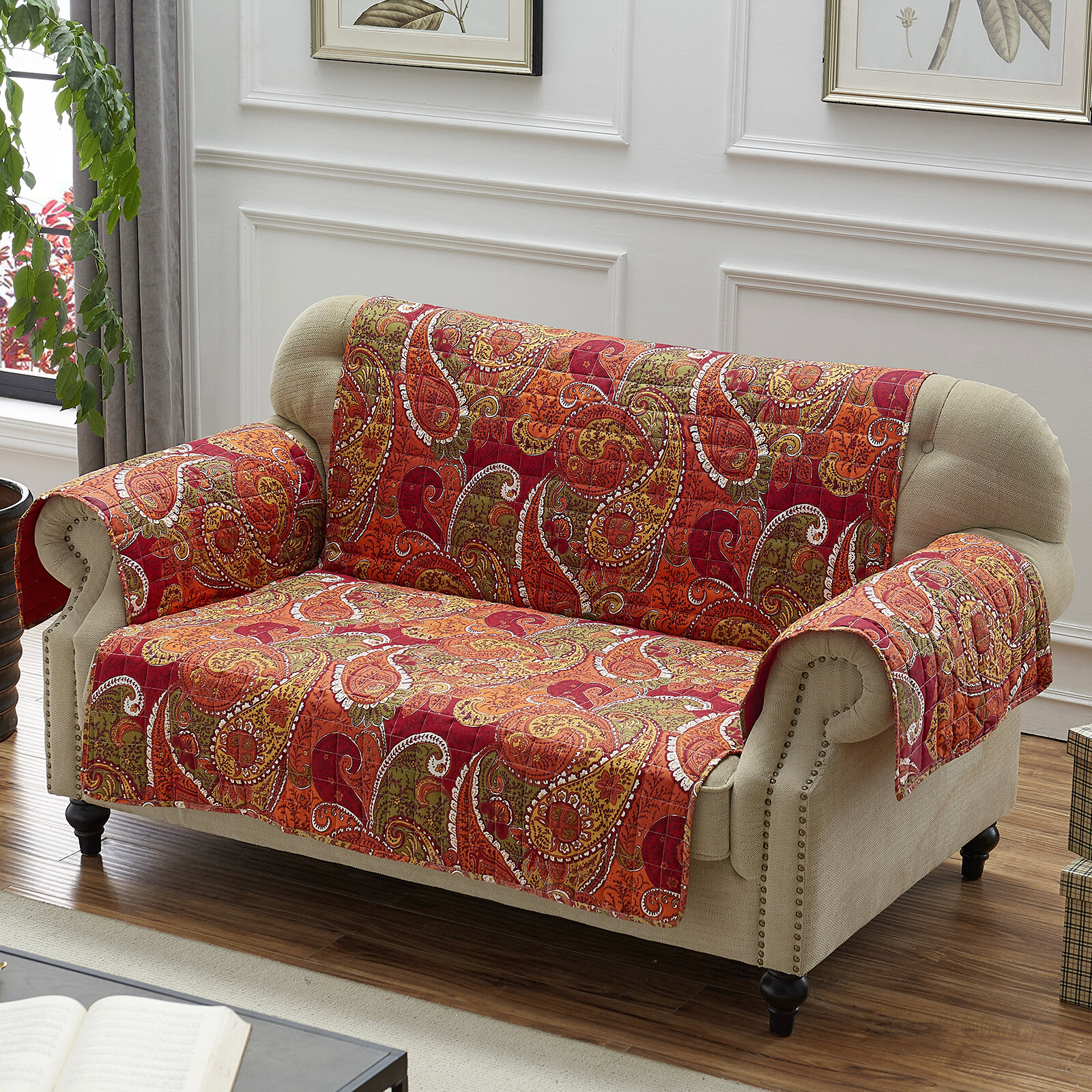 Fantastic Sayler Box Cushion Loveseat Slipcover Machost Co Dining Chair Design Ideas Machostcouk