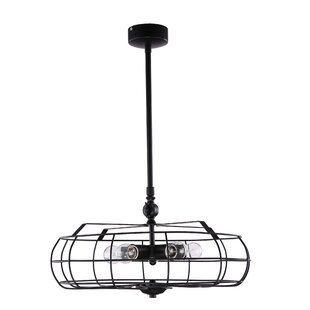 Sandy Retro Industrial Iron Fan-like 5-Light Geometric Chandelier by 17 Stories