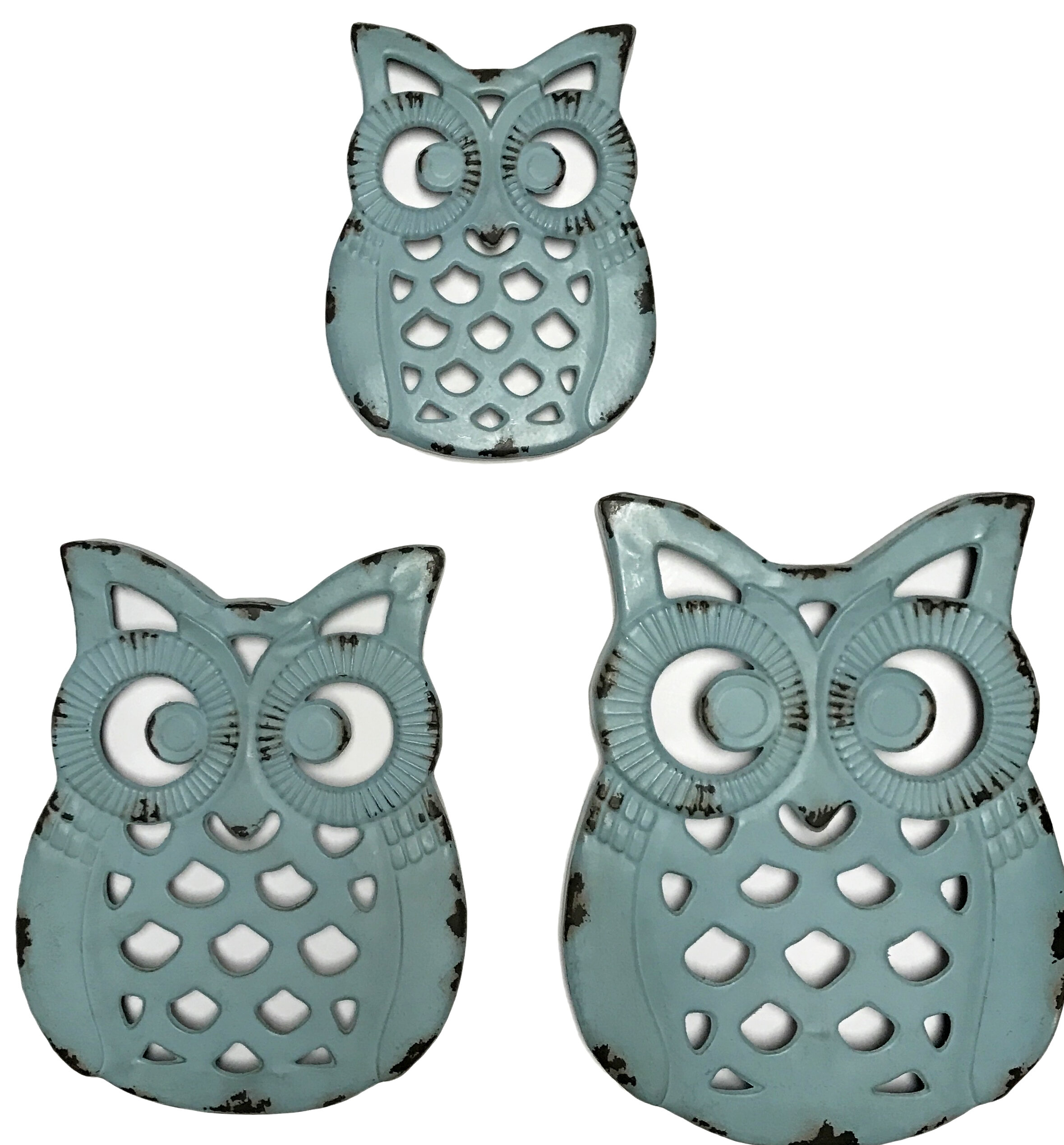 August Grove 3 Piece Metal Owl Wall