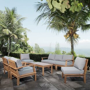 Rosecliff Heights Elaina Outdoor Patio 8 Piece Teak Sectional Seating Group with Cushion