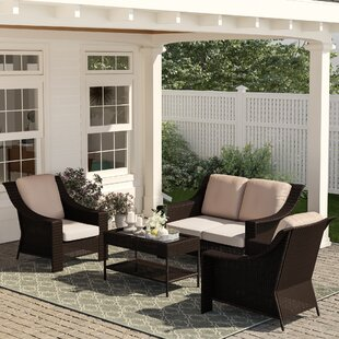 Kinley 4 Piece Rattan Sofa Seating Group with Cushions