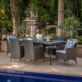 Alassane Outdoor Wicker 7 Piece Dining Set with Cushions