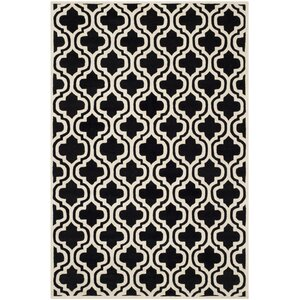 Wilkin Moroccan Hand-Tufted Wool Black/Ivory Area Rug