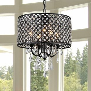 House of Hampton Petunia 4-Light Crystal Chandelier