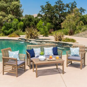 Wood Patio Furniture With Cushions find the best wood patio conversation sets | wayfair