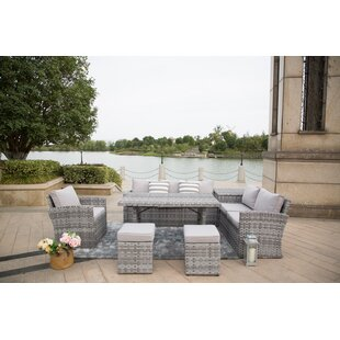 Murdock 7-Piece Lounge Dining with Table Ottomans and Luxury Cushions by Rosecliff Heights