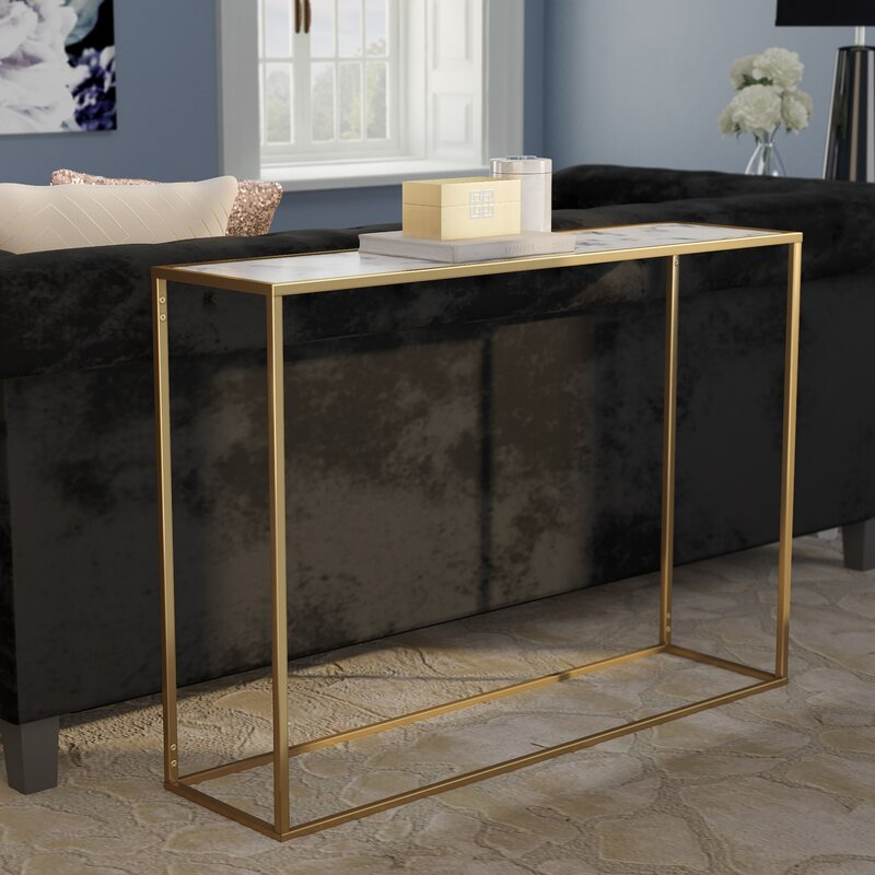 Willa Arlo Interiors Theydon Faux Marble Console Table