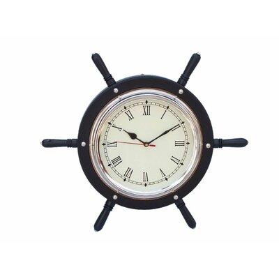Handcrafted Nautical Decor 15'' Wooden Ship Wheel Wall Clock