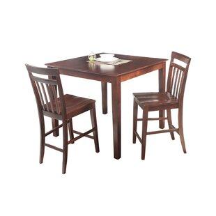 Foxfield 3 Piece Counter Height Solid Wood Dining Set by Loon Peak Best Design