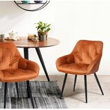 Tufted Upholstered Side Dining Chair in Orange (Set of 2) by Corrigan Studio