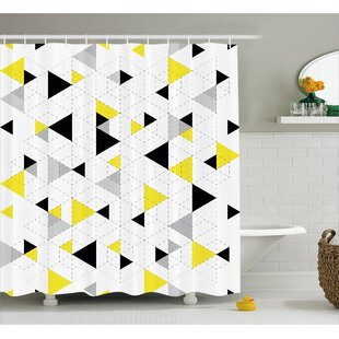 Inexpensive Beau Abstract Triangles Shower Curtain ByIvy Bronx