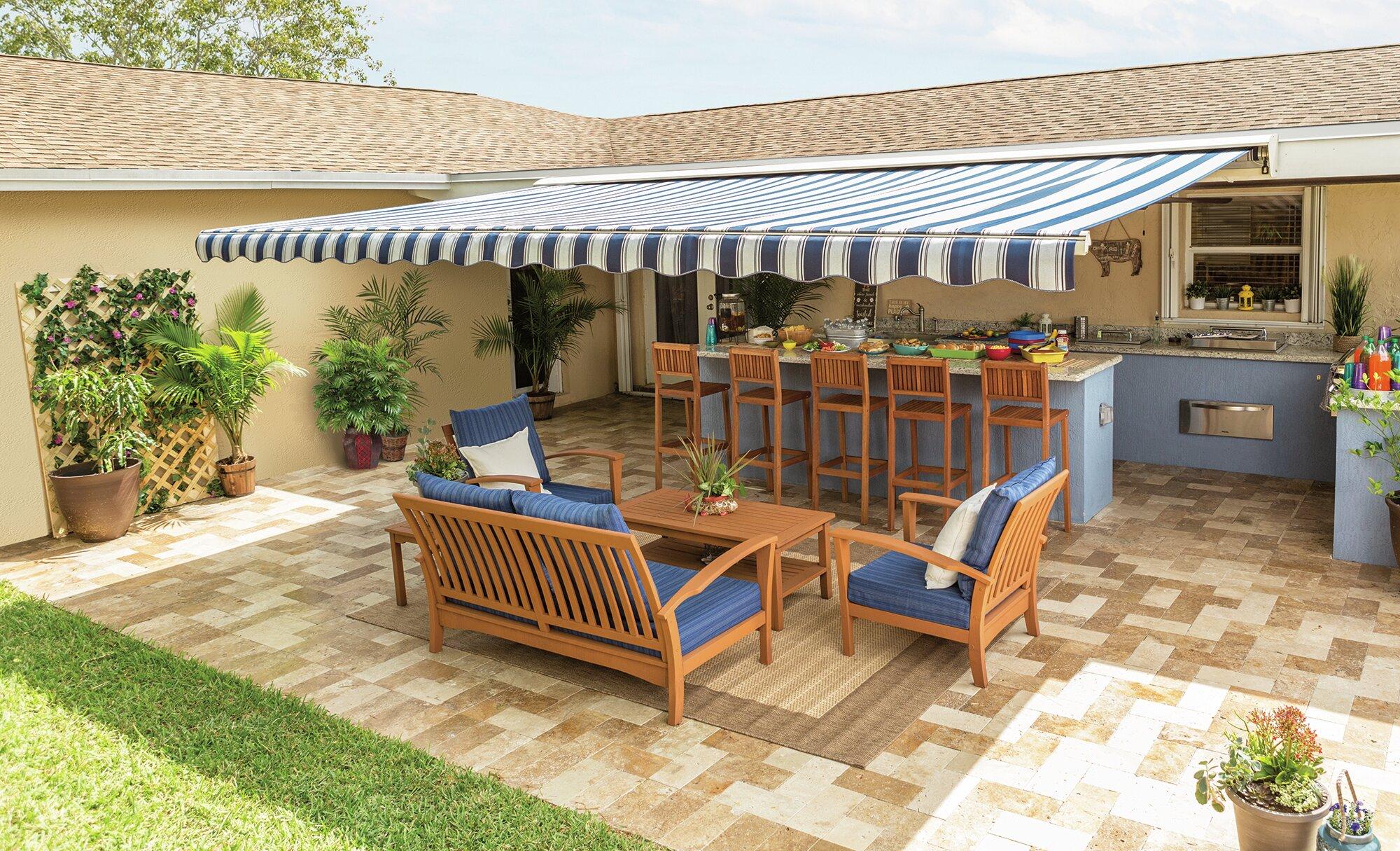 SunSetter Motorized XL Sunbrella Retractable Standard Patio Awning   Wayfair