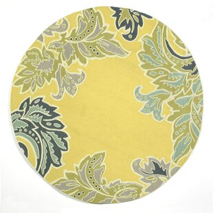 Cosmo Ornamental Leaf Border Yellow Indoor/Outdoor Area Rug