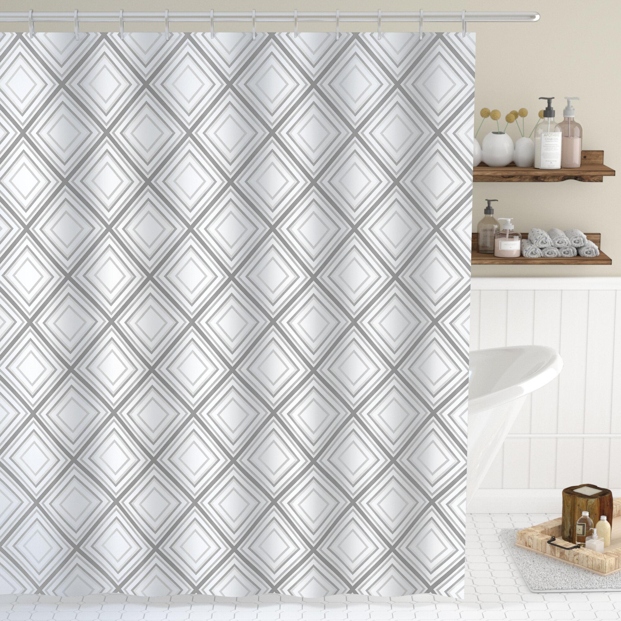 Union Rustic Wyatt Minimalist Squares Shower Curtain | Wayfair