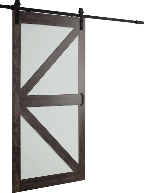 Continental Frosted Glass 1 Panel Ironage Laminate Interior Barn Door  sc 1 st  Wayfair & Erias Home Designs Continental Frosted Glass 1 Panel Ironage ...