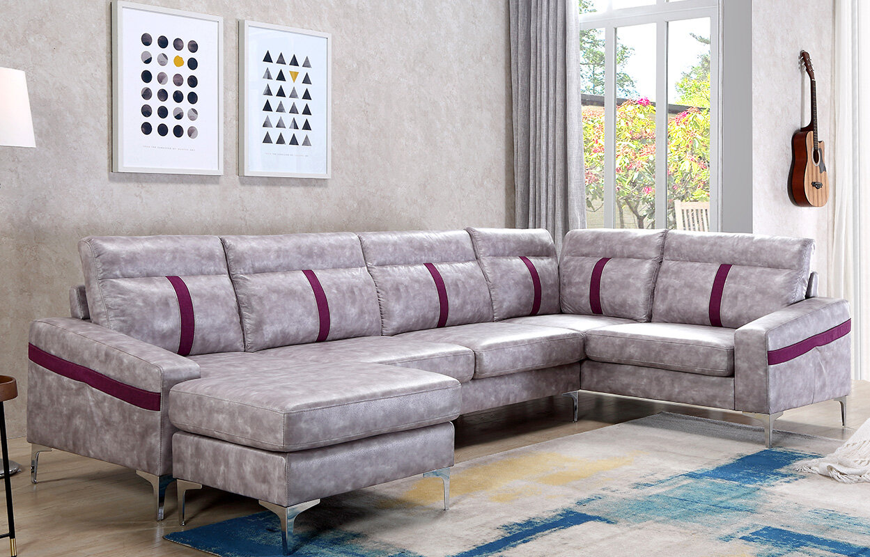 Brayden Studio Lin Sectional With Ottoman | Wayfair