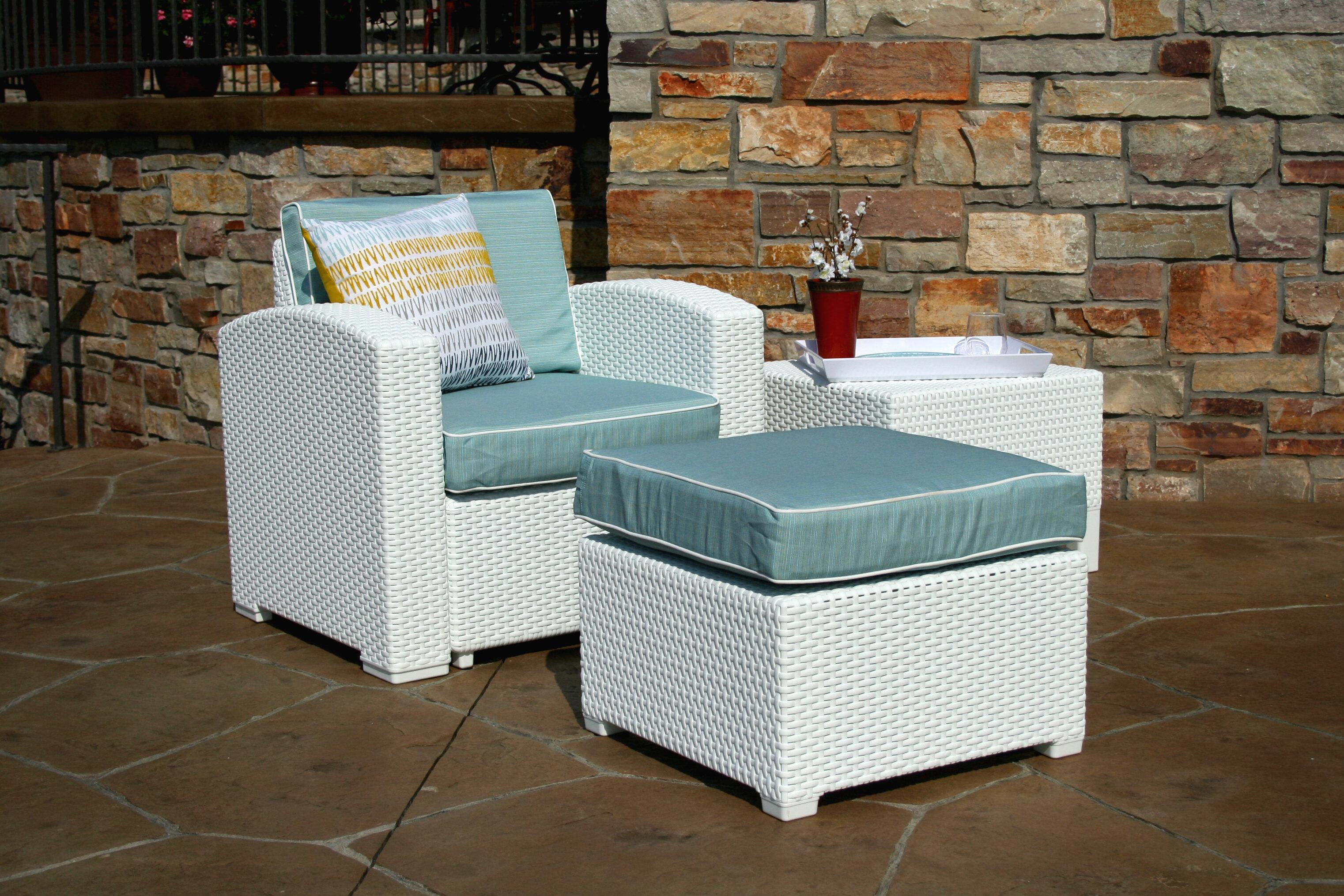Brayden Studio Loggins Lounge Patio Chair And Ottoman With Side Table Wayfair