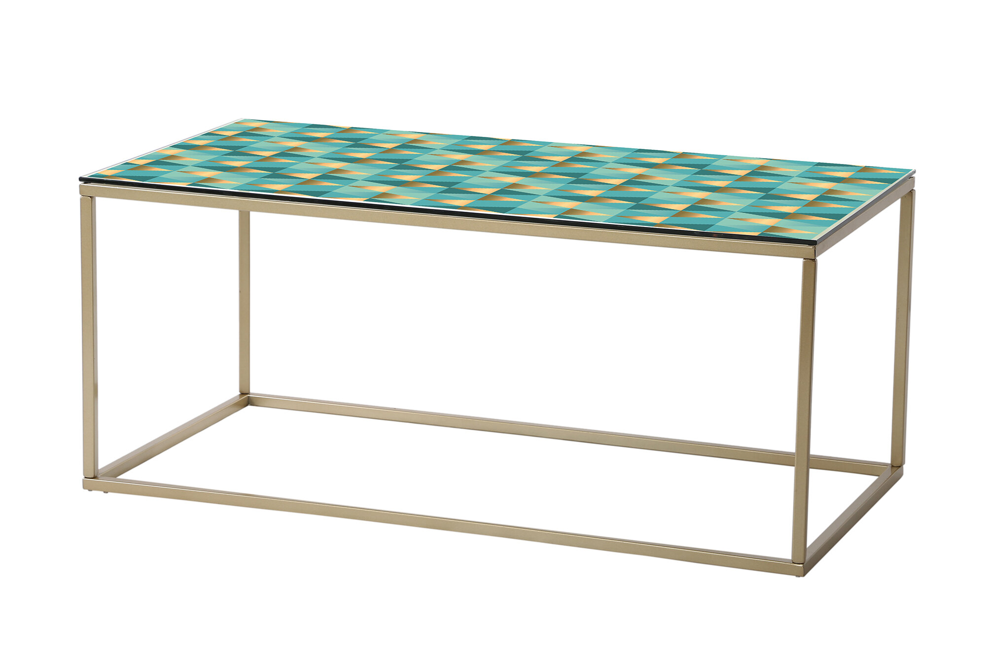 Designart Gold And Rose Cubes Ii Glam Coffee Table