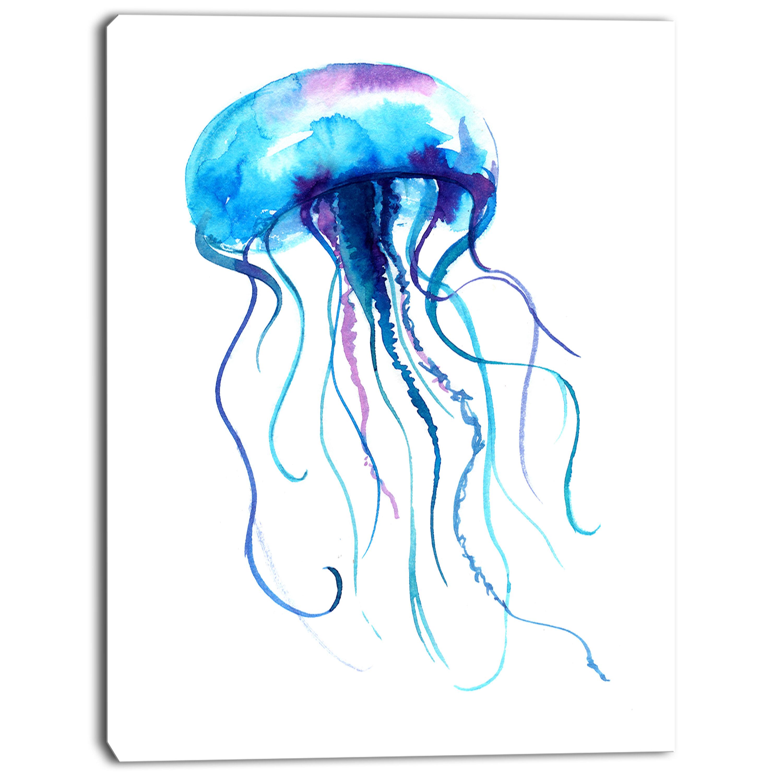 Designart Large Light Blue Jellyfish Painting Print On Wrapped Canvas Wayfair