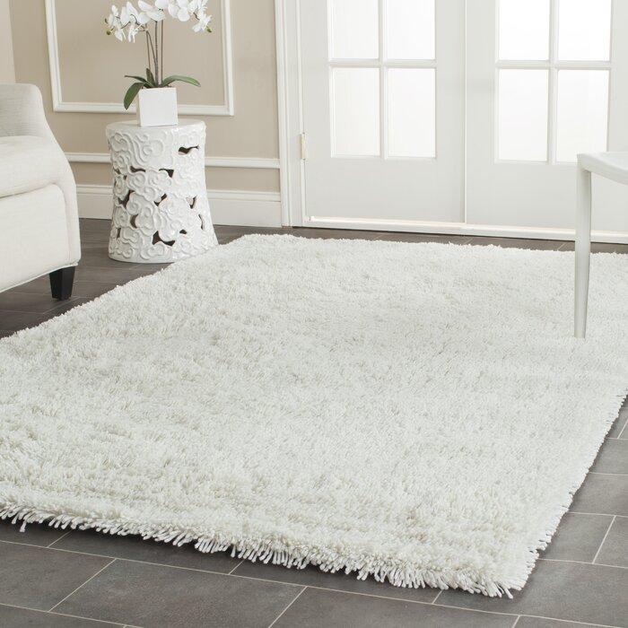 charlton home pierce white shag area rug & reviews | wayfair.ca