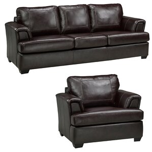 Royal Cranberry Leather 2 Piece Living Room Set by Coja