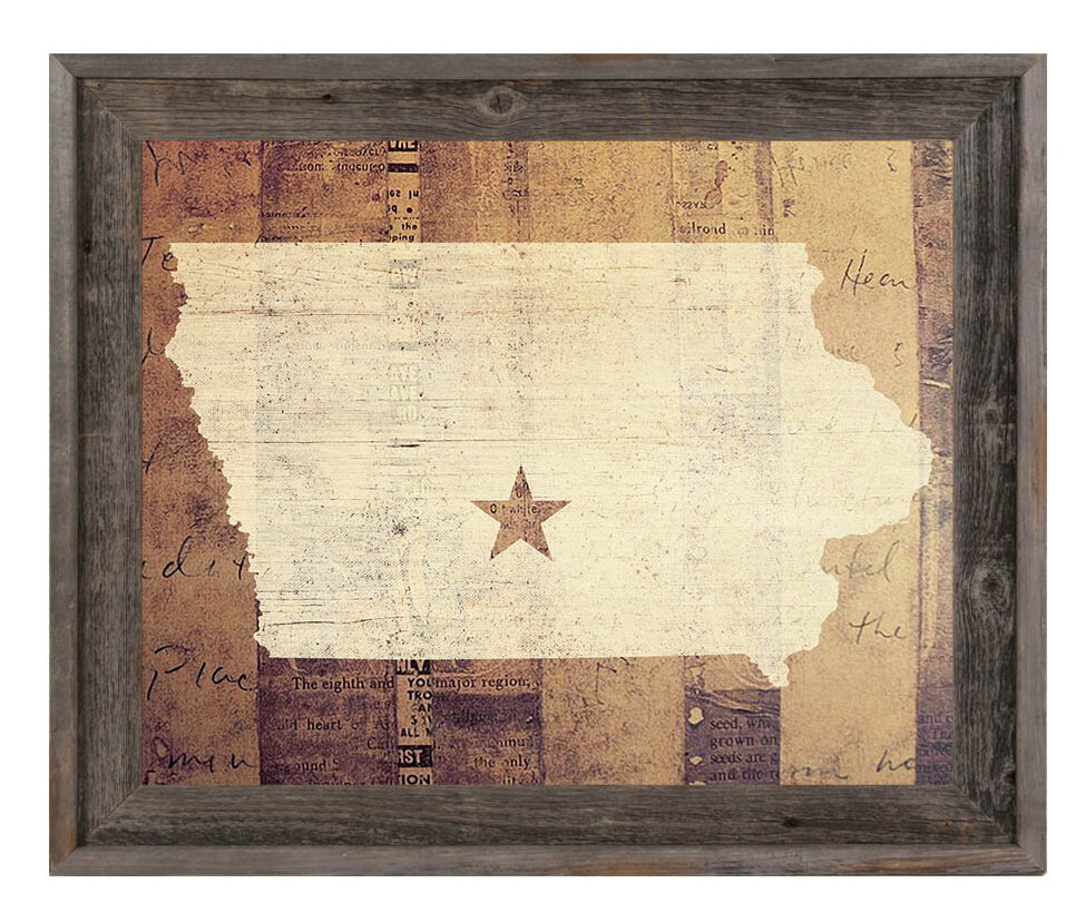 Click Wall Art \'Iowa Rustic\' Framed Graphic Art | Wayfair