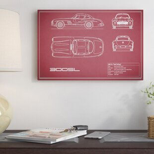'Mercedes-Benz 300 SL Gullwing Coupe' Graphic Art Print on Canvas in Maroon By East Urban Home