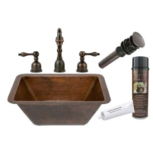 Premier Copper Products Hammered Metal Rectangular Undermount Bathroom Sin..