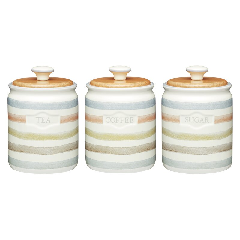 Clic Striped 3 Piece Ceramic Coffee Tea Sugar Set