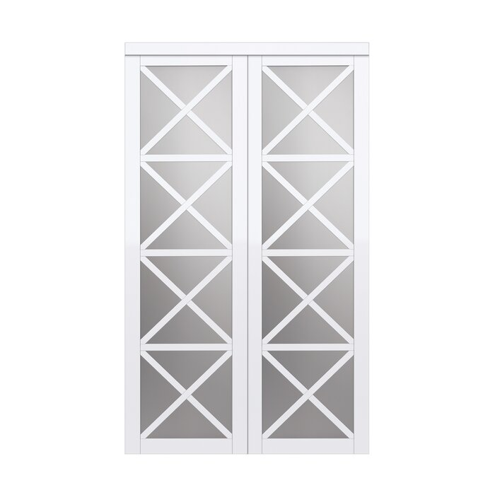 Mirrored Manufactured Wood Glass Lace Sliding Closet Door