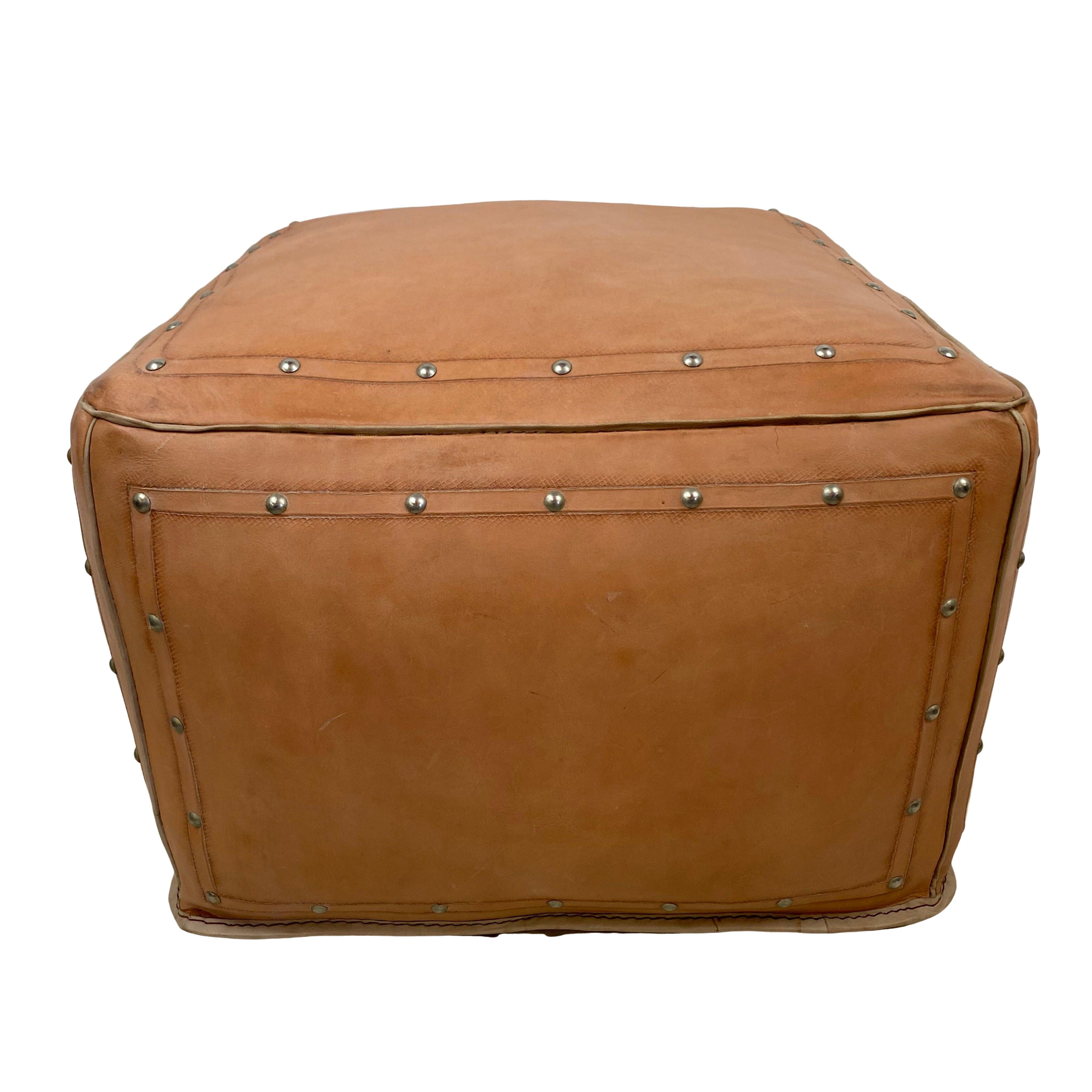 Foundry Select Wardle 18 Genuine Leather Square Pouf Ottoman Wayfair
