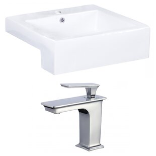 Check Prices Xena Farmhouse Semi-Recessed Ceramic Rectangular Vessel Bathroom Sink with Faucet and Overflow ByRoyal Purple Bath Kitchen