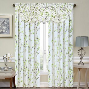 Timmy Floral Sheer Rod Pocket Curtain Panels (Set of 2) by Bloomsbury Market