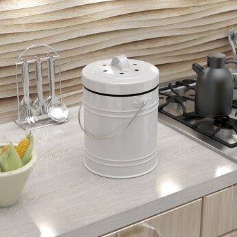 Cooler Kitchen Oversized 1.3 Gallon Kitchen Compost Bin ...