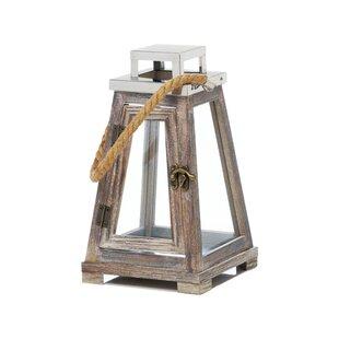 Breakwater Bay Pyramid Wood/Glass Lantern
