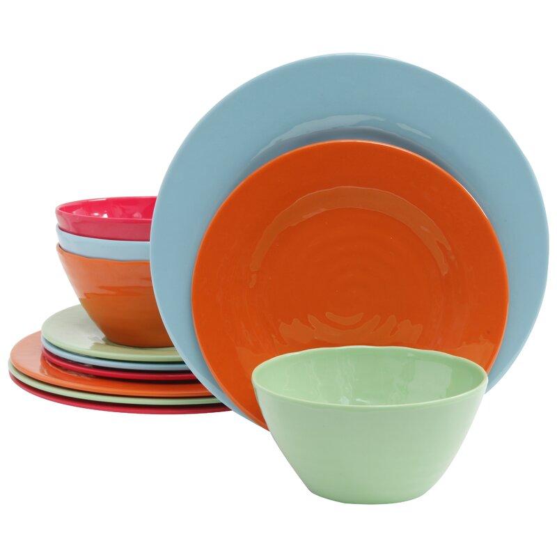 Melamine Brist 12 Piece Dinnerware Set Service For 4