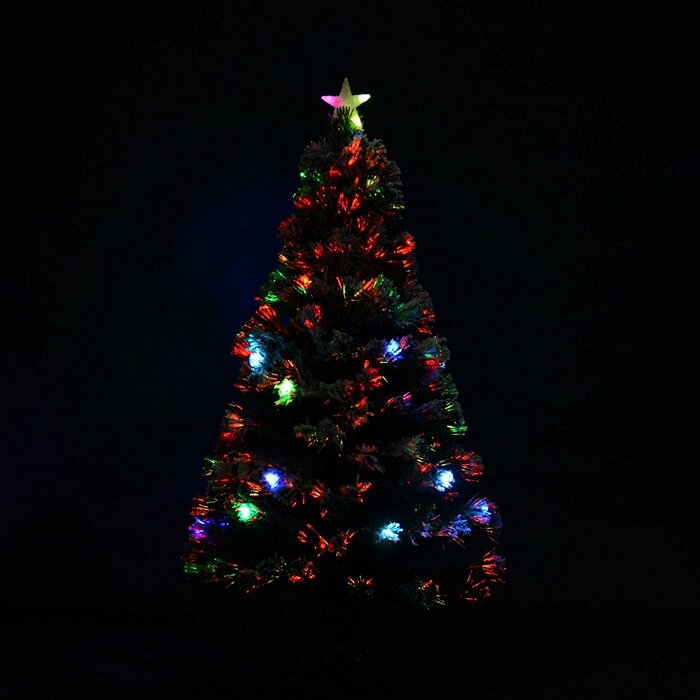 Christmas Tree Led.5ft Green Artificial Christmas Tree With Coloured Led Lights With Stand