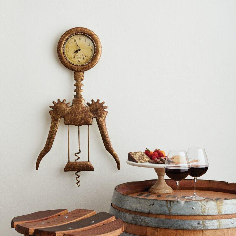 Wine Wall Clock - Kitchen Wall decorations - Winged Corkscrew Wall Clock