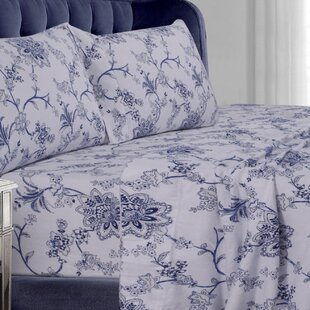 Tribeca Living Floral Flannel Sheet Set