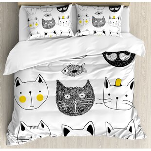 Cat Stylish Cats with Mouthache Duvet Cover Set